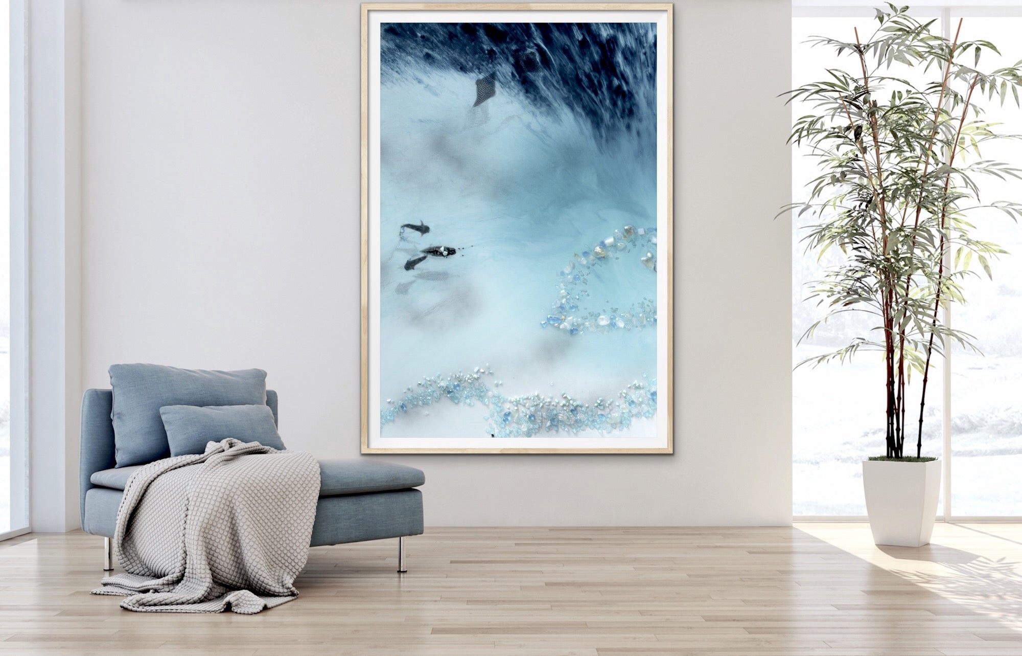 Abstract Reef Artwork. Grey & blue. Blue Lagoon. Art Print. Antuanelle 2 Lagoon Limited Edition Print