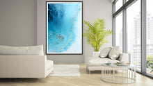 Load image into Gallery viewer, Abstract Beach. Teal Blue. Blue Lagoon Vertical. Art print. Antuanelle 2 Heart Reef Artwork. Limited Edition Print
