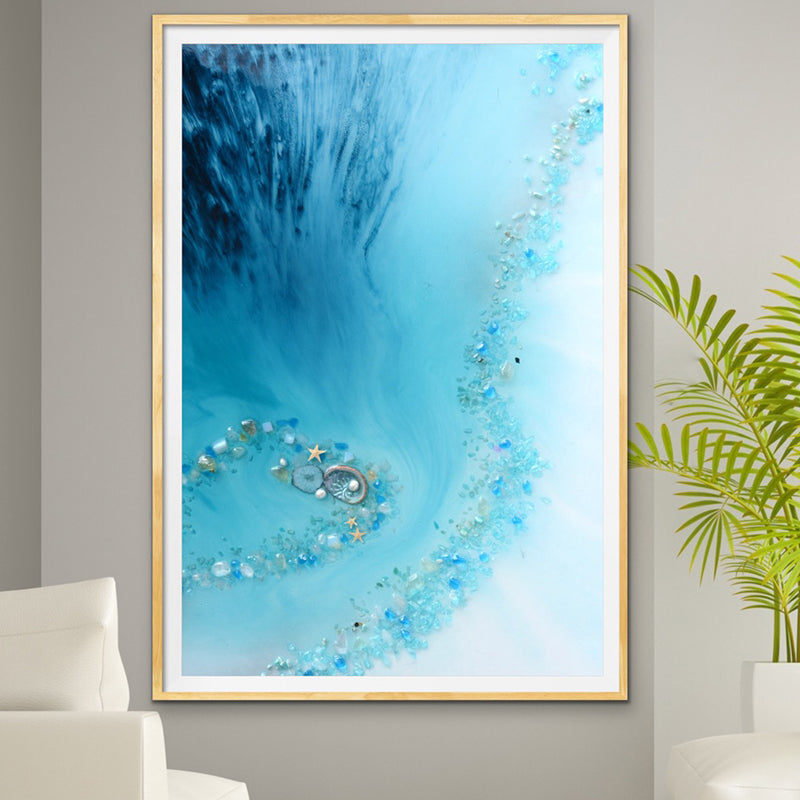 Abstract Beach. Teal Blue. Blue Lagoon Vertical. Art print. Antuanelle 1 Heart Reef Artwork. Limited Edition Print