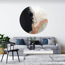 Load image into Gallery viewer, 2 Black and White Crystal Geode 1. Blue Sapphire. Round ACRYLIC PLEXIGLASS ROUND