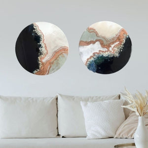 2 Black and White Crystal Geode. Sapphire. Original Artwork Diptych Set of Two