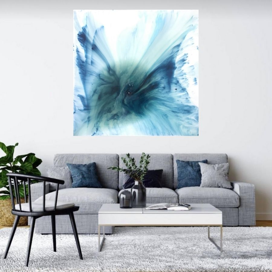 Ocean Resin Art - Abstract Seascape - Teal Blue Wave Beach - Print - My Heaven. AZURE PORTALS. Original Artwork - Antuanelle - 1. Artwork.