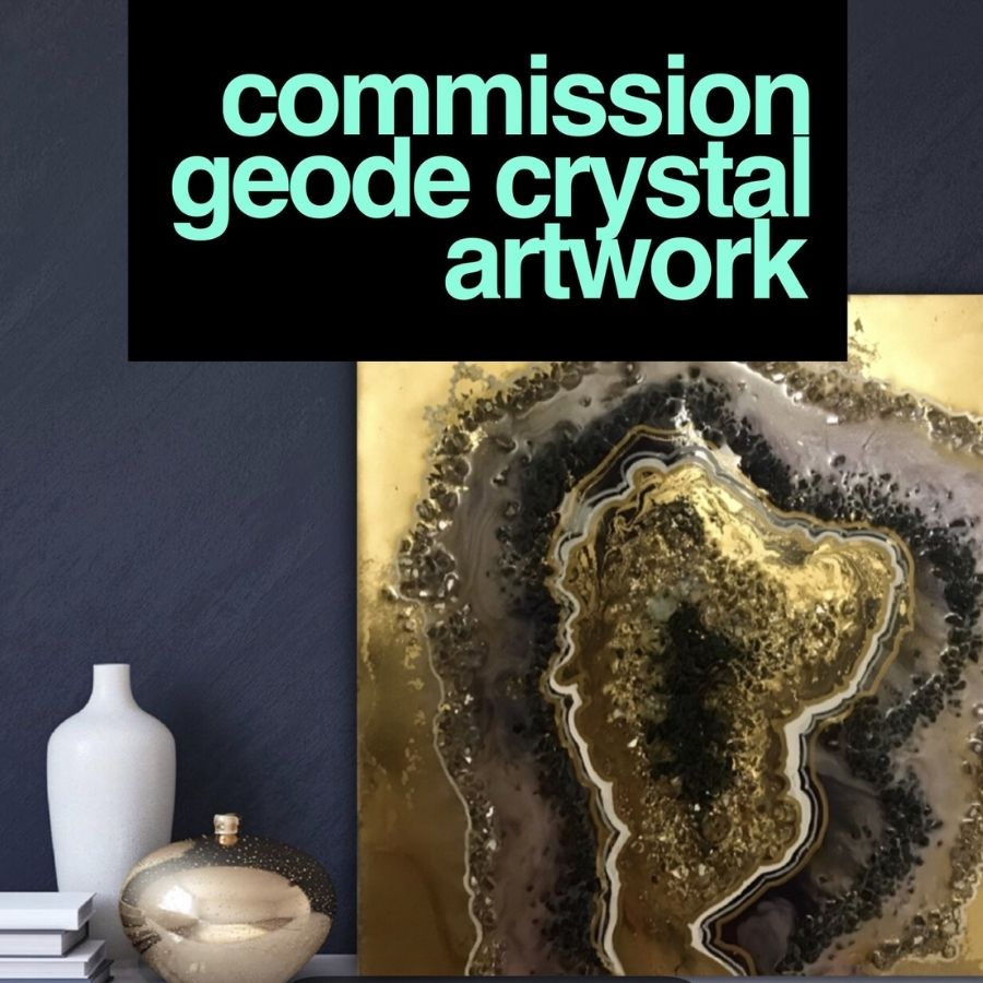 Crystal Geode - CUSTOM Artwork - Resin Art 1 COMMISSION - ABSTRACT ARTWORK