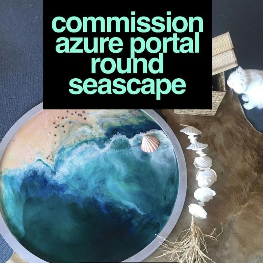 Round Ocean Resin Art - CUSTOM ABSTRACT OCEAN ARTWORK 1 COMMISSION Seascape - Portal to the