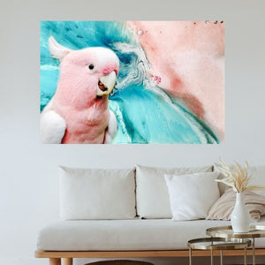 Ocean Bird. Teal and Pink. Pink Gallah Parrot. Art Print Antuanelle 1 Bird Artwork. Limited Edition