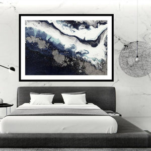 Abstract Ocean. Navy Wave. Ice Flow. Art Print. Antuanelle 1 Flow - Sydney Harbour Limited Edition Print