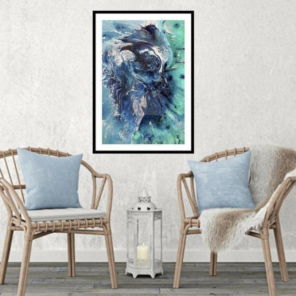 Abstract Seascape. Blue Ocean. Bondi Surf Aqua. Art Print. Antuanelle 5 Neutral Limited Edition Print