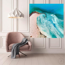 Load image into Gallery viewer, Green Abstract Artwork. Beach Inspired. Durdle Door. Antuanelle 1 Oceanic Abstract. Original Artwork