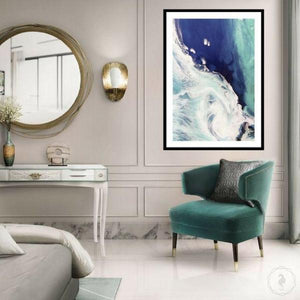 Abstract Shoreline. Deep Navy. Sea Foam. Art Print. Antuanelle 1 Seascape. Limited Edition Print