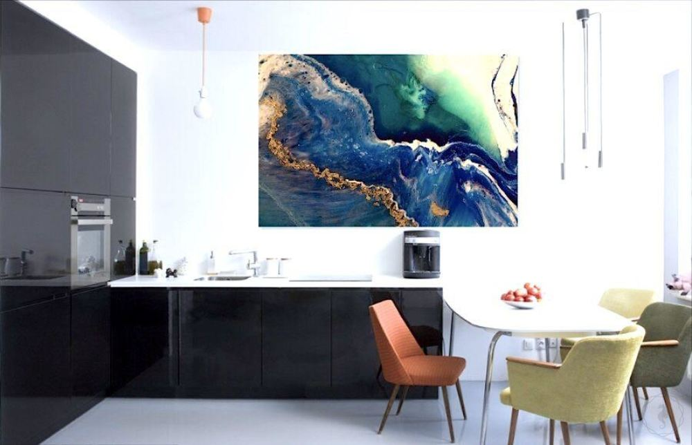 Abstract Oceanscape. Deep Navy. Heart Reef 6. Art Print. Antuanelle 2 Extra Large Canvas Print and Acrylic