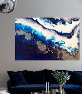 Abstract Oceanscape. Dark Blues. Ice Flow Navy. Art Print. Antuanelle 2 Seascape. Limited Edition Print