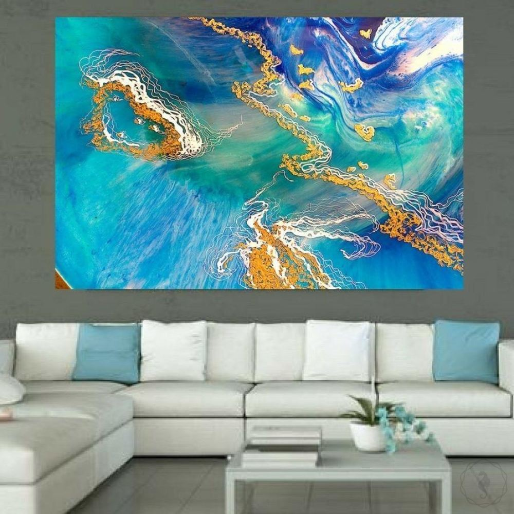 Abstract Ocean. Teal and Gold. Heart Reef. Art Print. Antuanelle 1 Seascape. Print