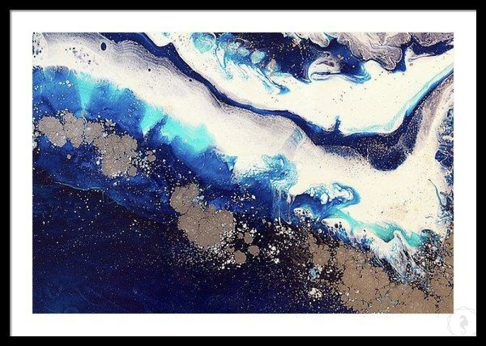 Abstract Oceanscape. Dark Blues. Ice Flow Navy. Art Print. Antuanelle 5 Seascape. Limited Edition Print