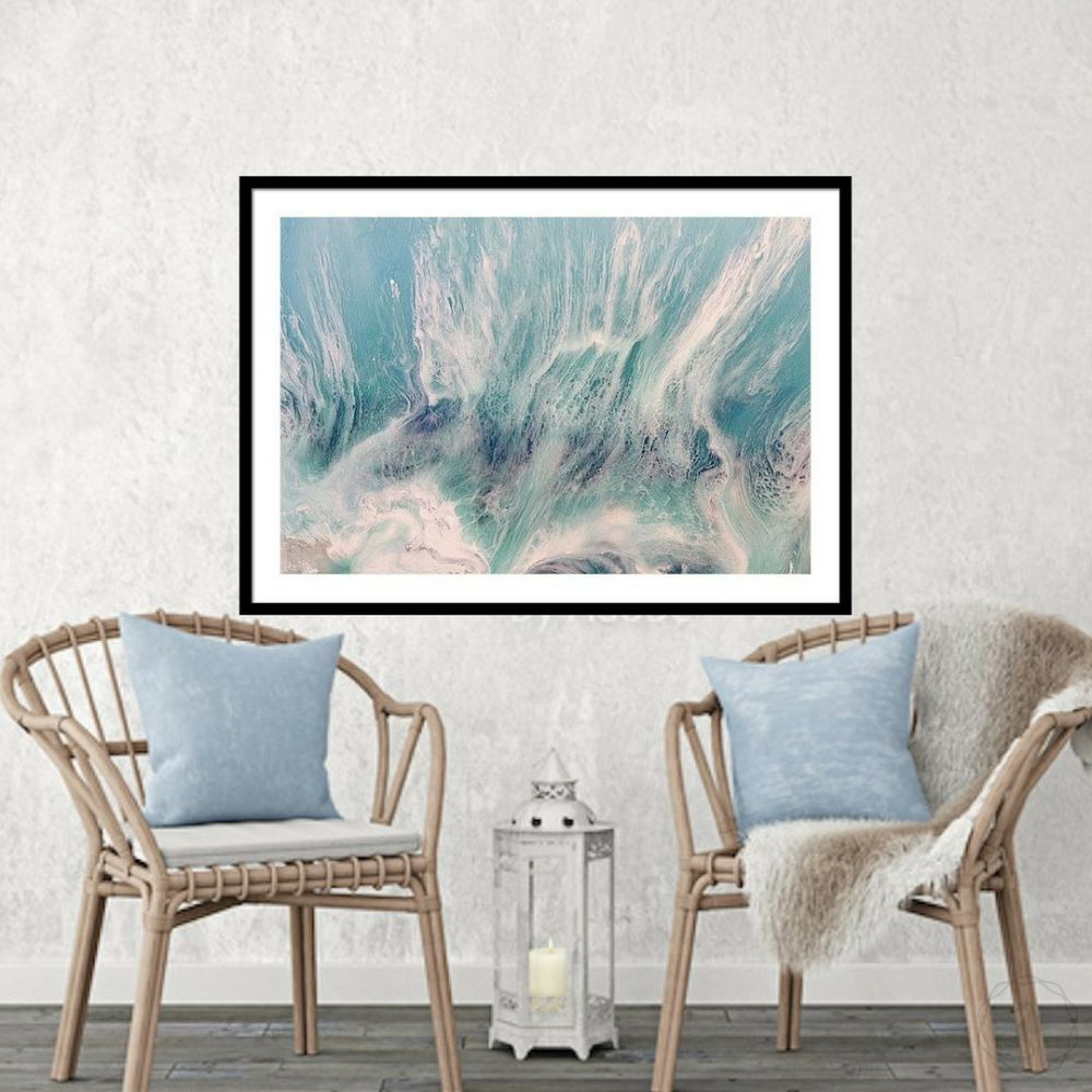 Pastel Seascape. Grey & Teal. Neutral Seafoam. Art Print. Antuanelle 2 Seafoam Abstract Limited Edition Print