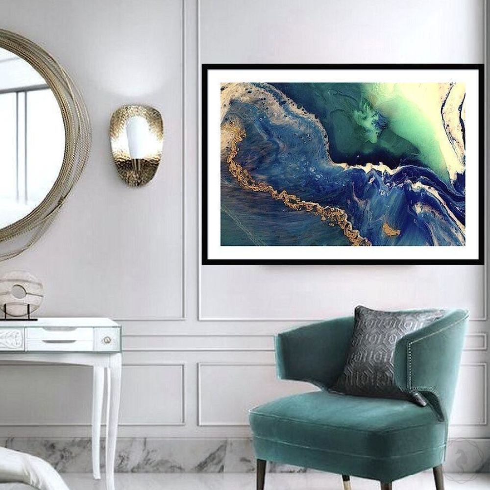 Abstract Oceanscape. Deep Navy. Heart Reef 6. Art Print. Antuanelle 1 Extra Large Canvas Print and Acrylic