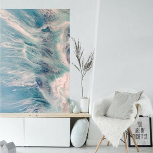 Pastel Seascape. Grey & Teal. Neutral Seafoam. Art Print. Antuanelle 1 Seafoam Abstract Limited Edition Print