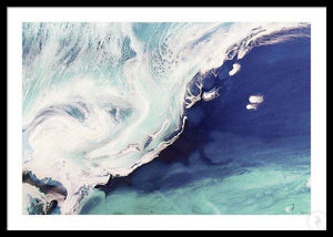 Abstract Shoreline. Deep Navy. Sea Foam. Art Print. Antuanelle 4 Seascape. Limited Edition Print