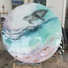Load and play video in Gallery viewer, Bounty Turtle 2.0. Australian Seascape. Round  Artwork.