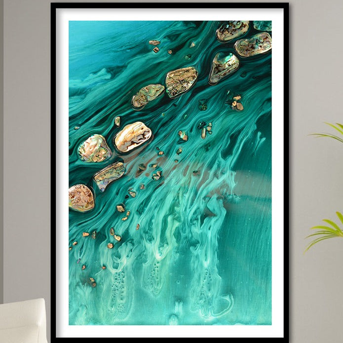 Abstract Ocean Artwork. Rise Above Seashells 1. Art Print. Antuanelle Limited Edition Print