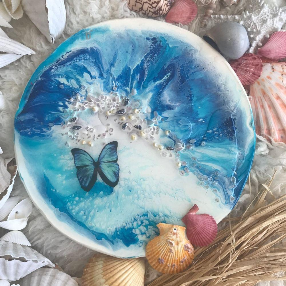 Blue Butterfly Coastal Abstract. Ocean Portal. Summer. Antuanelle 1 summer. Abstract Butterfly. Original Artwork