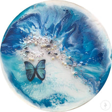 Load image into Gallery viewer, Blue Butterfly Coastal Abstract. Ocean Portal. Summer. Antuanelle 3 summer. Abstract Butterfly. Original Artwork