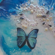 Load image into Gallery viewer, Blue Butterfly Coastal Abstract. Ocean Portal. Summer. Antuanelle 2 summer. Abstract Butterfly. Original Artwork