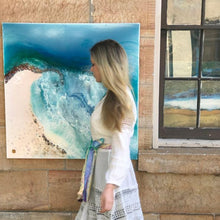 Load image into Gallery viewer, Teal and Blue Artwork. Beach Inspired Abstract piece. Durdle Door. Antuanelle 1 Coastal Abstract. Original Artwork with Amber Agate.