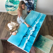 Load image into Gallery viewer, Ocean Resin Art Australian Beach - artwork full of island vib 4 Blue horizon. Original Artwork.