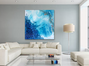 Blue Reef. Abstract Seascape.  Original Artwork. 90x90cm