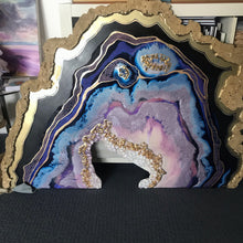 Load image into Gallery viewer, Purple and Gold amethyst geode - Custom Artwork 5 Amethyst Geode Original Artwork. COMMISSION
