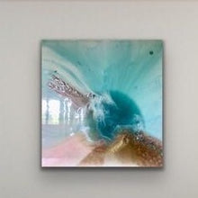Load image into Gallery viewer, Teal Abstract Artwork. Ocean Blue. Aqua Bliss. Antuanelle 3 Abstract. Original 100x100cm