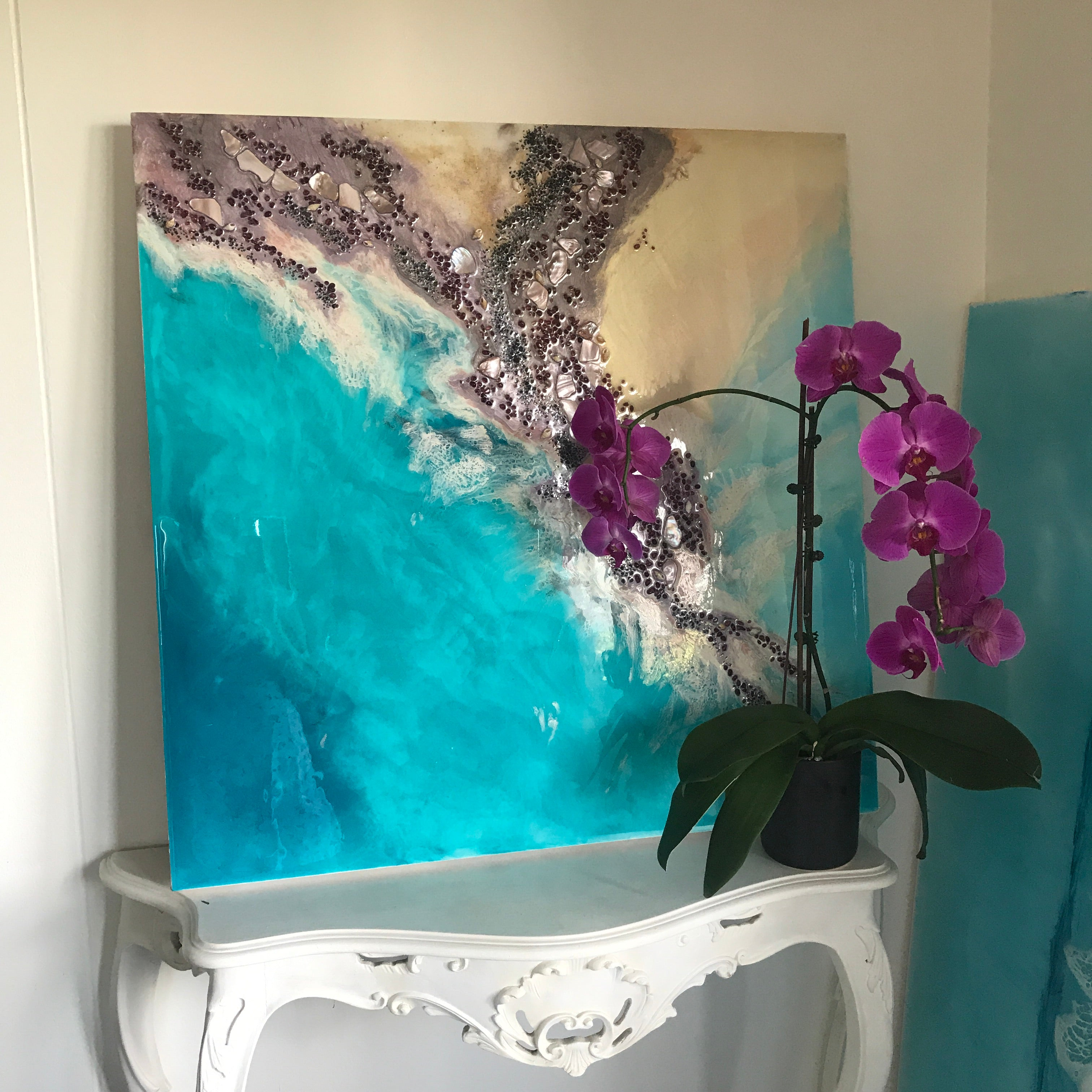 Teal Blue Ocean Wave. Byron Bay Magic. Original Artwork. Antuanelle 11 Magic with Mussels and Garnet. Abstract Seascape 90x90cm