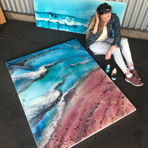 Teal and Pink Ocean Painting. Abstract Seascape Resin Artwork 4 Azure Coastline. Ocean. Original with Abalone Shells Coral 120x150cm.
