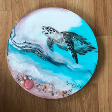 Load image into Gallery viewer, Sea Turtle Ocean Seascape. Bounty Turtle 30cm - 60cm Original Custom Artwork. Australian Seascape. Round Artwork. COMMISSION.