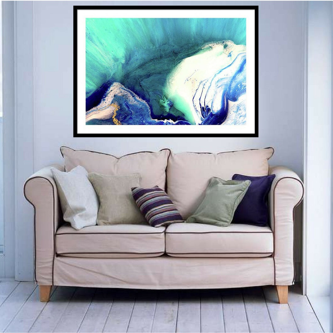 Abstract Sea. Teal Blue Wave. Heart Reef 7. Art Print. Antuanelle 1 Seascape. Limited Edition Print