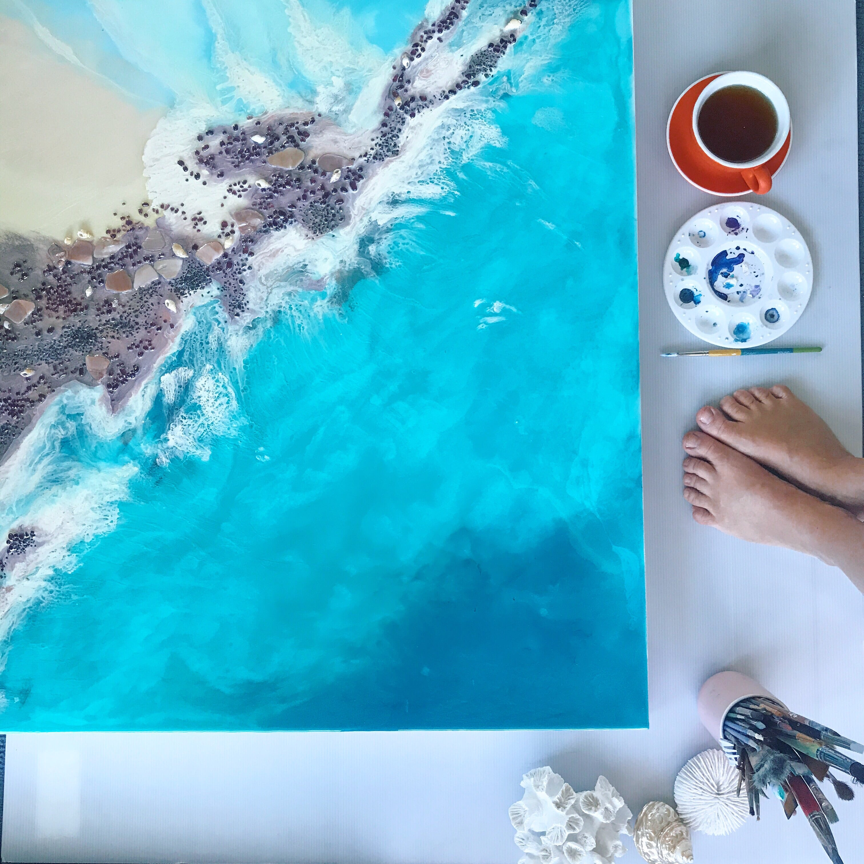 Teal Blue Ocean Wave. Byron Bay Magic. Original Artwork. Antuanelle 6 Magic with Mussels and Garnet. Abstract Seascape 90x90cm