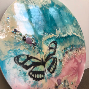 7 Butterfly Dream. Original Abstract Resin Artwork with Genuine Pearls