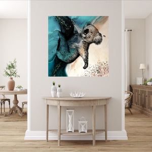 Abstract Seascape. Teal seascape with Koala. Art Print. Antuanelle 3 Sleeping Beauty. Print for WIRES Wildlife Rescue. Limited Edition