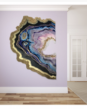 Load image into Gallery viewer, Purple and Gold amethyst geode - Custom Artwork 10 Amethyst Geode Original Artwork. COMMISSION