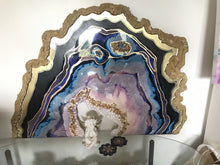 Load image into Gallery viewer, Purple and Gold amethyst geode - Custom Artwork 7 Amethyst Geode Original Artwork. COMMISSION