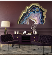 Load image into Gallery viewer, Purple and Gold amethyst geode - Custom Artwork 4 Amethyst Geode Original Artwork. COMMISSION