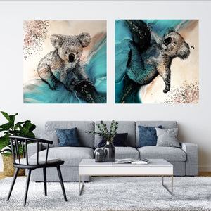 Abstract Seascape. Teal seascape with Koala. Art Print. Antuanelle 4 Sleeping Beauty. Print for WIRES Wildlife Rescue. Limited Edition