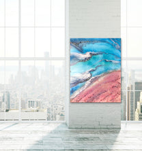 Load image into Gallery viewer, Teal and Pink Ocean Painting. Abstract Seascape Resin Artwork 6 Azure Coastline. Ocean. Original with Abalone Shells Coral 120x150cm.