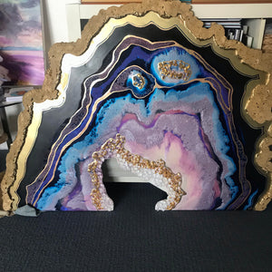 Purple and Gold Geode. Crystal resin Artwork. Original