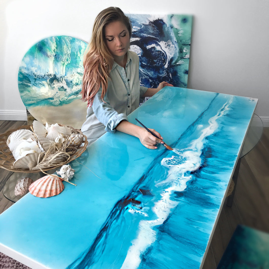 Ocean Resin Art Australian Beach - artwork full of island vib 1 Blue horizon. Original Artwork.