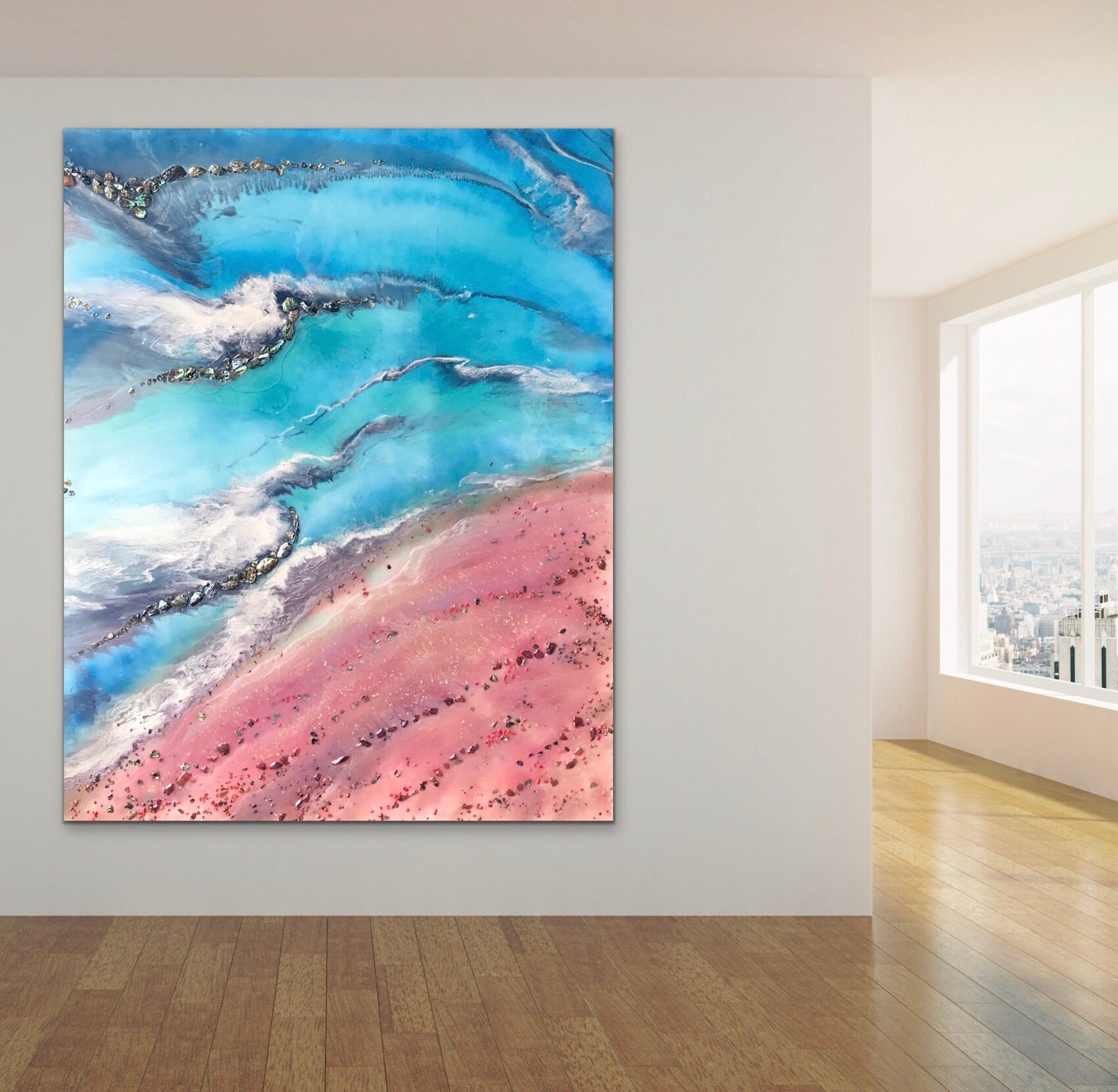 Teal and Pink Ocean Painting. Abstract Seascape Resin Artwork 7 Azure Coastline. Ocean. Original with Abalone Shells Coral 120x150cm.
