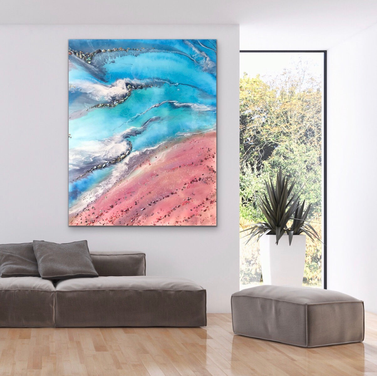 Teal and Pink Ocean Painting. Abstract Seascape Resin Artwork 3 Azure Coastline. Ocean. Original with Abalone Shells Coral 120x150cm.