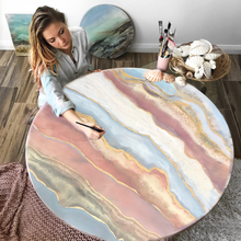 Load image into Gallery viewer, Ocean Resin Art - Abstract Seascape - Teal Blue Wave Beach - Print - Pink Abstract. Blissful Blush. Original Artwork - Antuanelle - 1 Blush