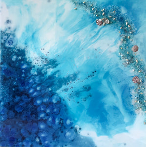 Blue lagoon. Abstract Seascape.  Original Artwork. 90x90cm