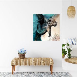 Abstract Seascape. Teal seascape with Koala. Art Print. Antuanelle 2 Sleeping Beauty. Print for WIRES Wildlife Rescue. Limited Edition